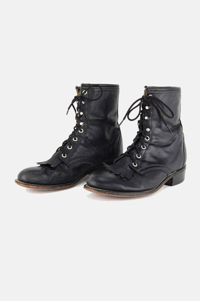 Laredo Leather Lace Up Justin Boots - One More Chance - 4