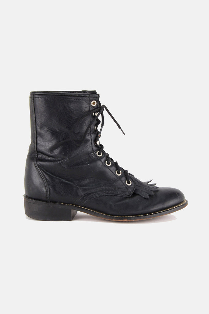 Laredo Leather Lace Up Justin Boots - One More Chance - 1
