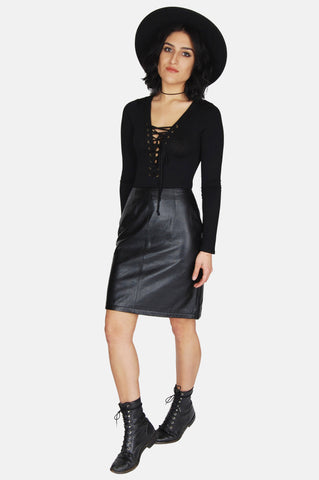 One More Chance Vintage - Vintage Wrong Is Right Leather Mini Skirt