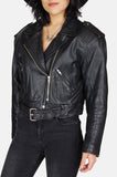 Zip It Up Crop Leather Moto Jacket