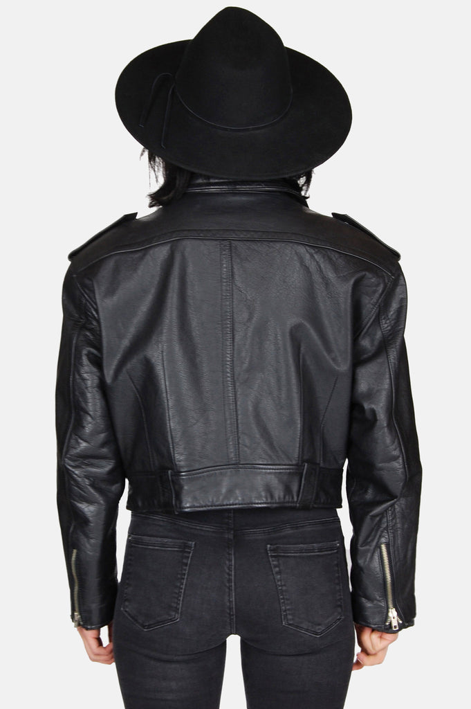 One More Chance Boutique - Vintage Zip It Up Crop Leather Moto Jacket