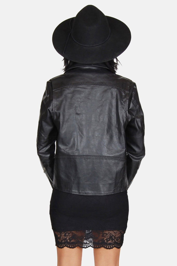 One More Chance Boutique - Vintage Bad Girl Leather Moto Jacket