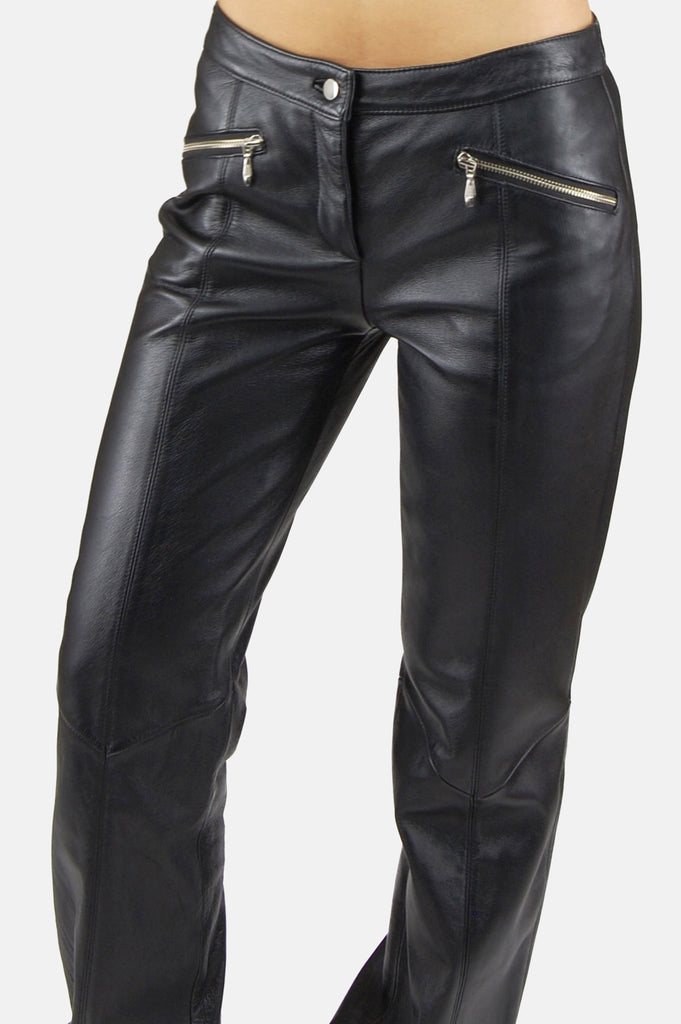 Easy Ride Zip Leather Moto Pants - One More Chance - 1