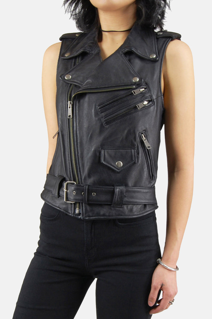 One More Chance Boutique - Vintage Livin' Is Easy Leather Moto Vest