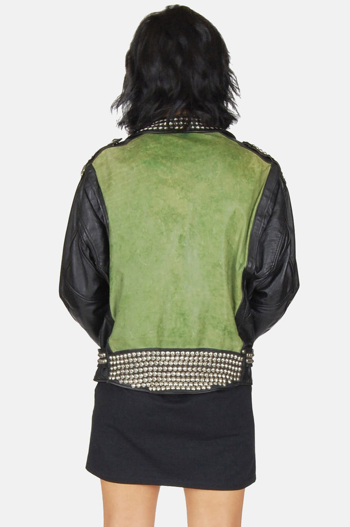 One More Chance Boutique - Vintage Restless Sinner Studded Leather Moto Jacket