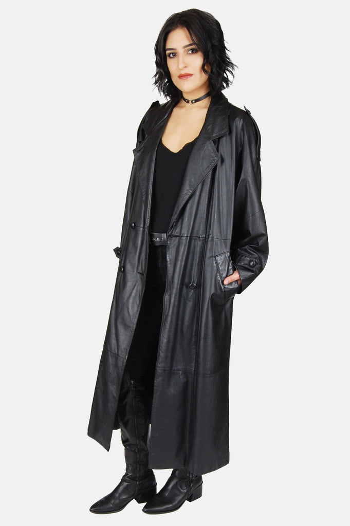 One More Chance Boutique - Vintage Night Moves Leather Trench Coat