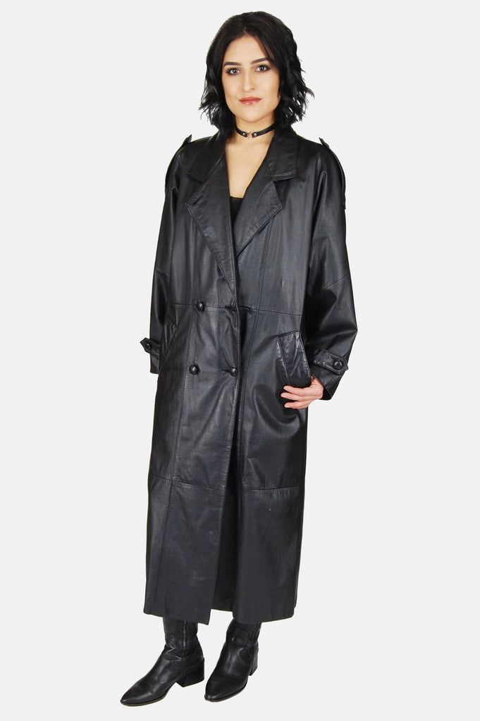 One More Chance Vintage - Vintage Night Moves Leather Trench Coat