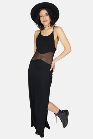 One More Chance Vintage - Vintage Turn Me On Mesh Cutout Maxi Dress