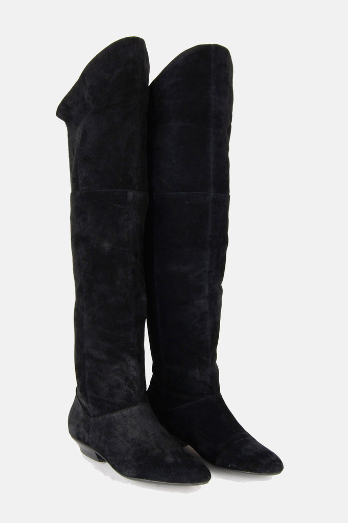 One More Chance Vintage - Vintage Three Shades Of Black Suede Over The Knee Boots