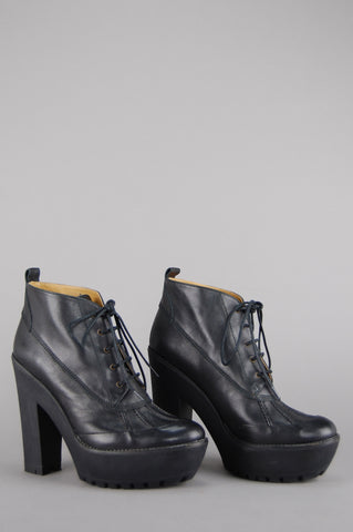 Polo Ralph Lauren Platform Calfskin Leather Ankle Boots