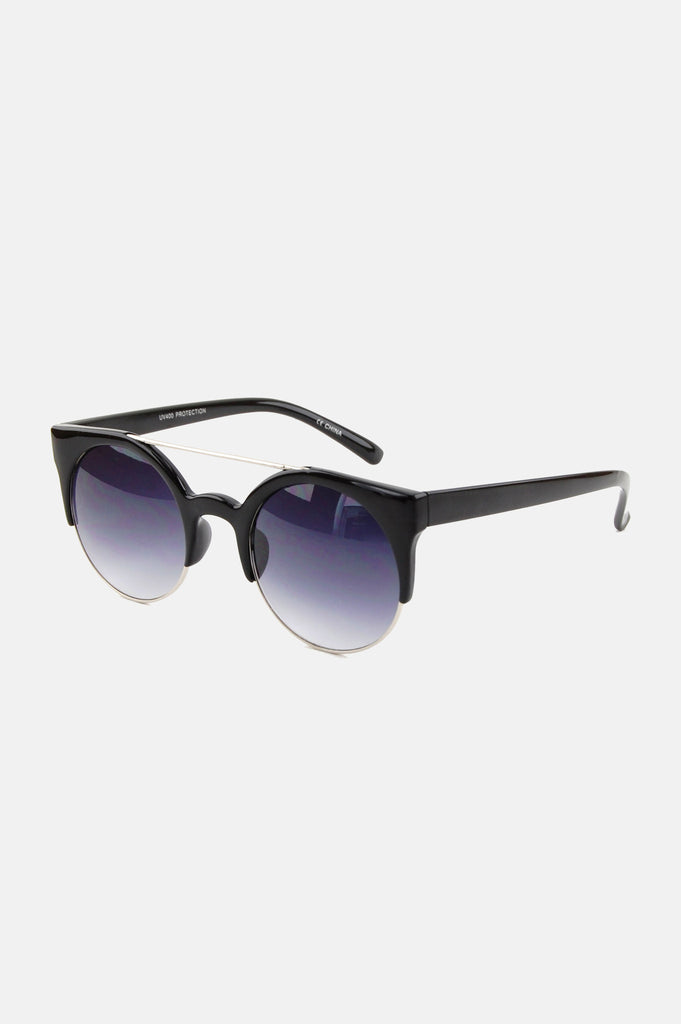 One More Chance Boutique - Freja Retro Rounded Sunglasses in Black
