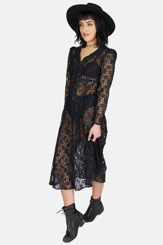 One More Chance Boutique - Vintage Black Night Sheer Lace Maxi Dress