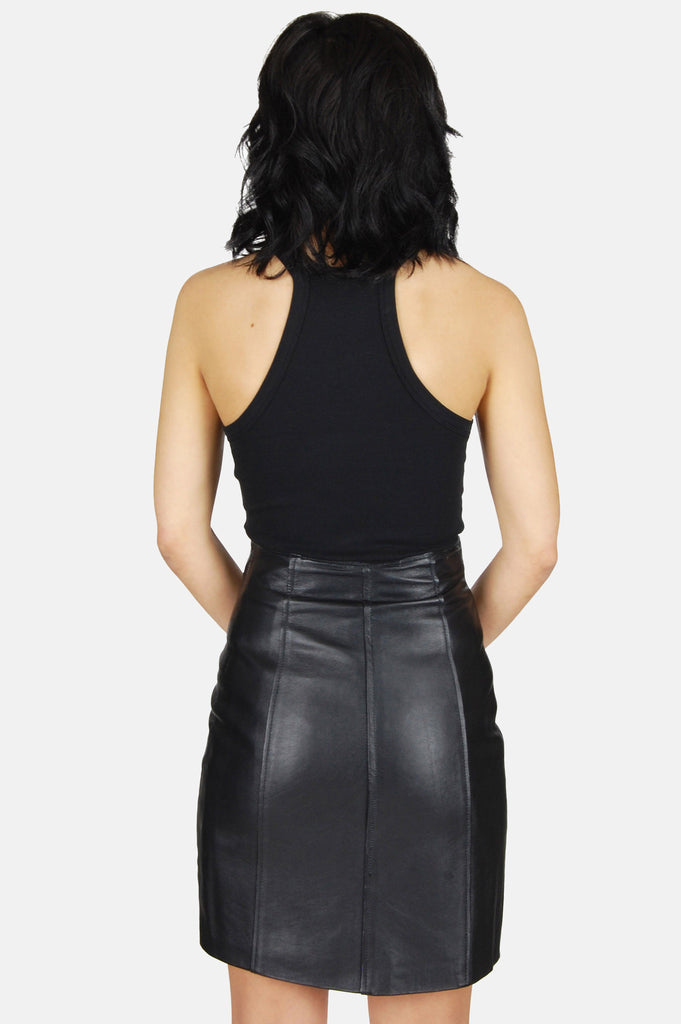 One More Chance Vintage - Vintage Star Studded Zip Front Leather Mini Skirt