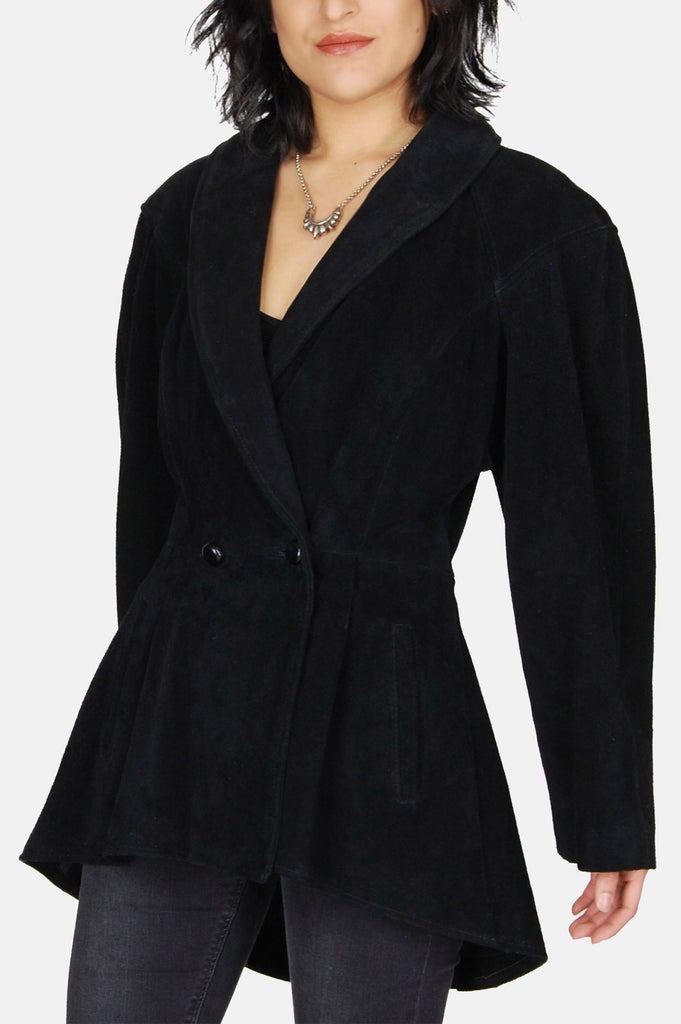 One More Chance Vintage - Vintage Dark Shadows Suede Leather Peplum Jacket