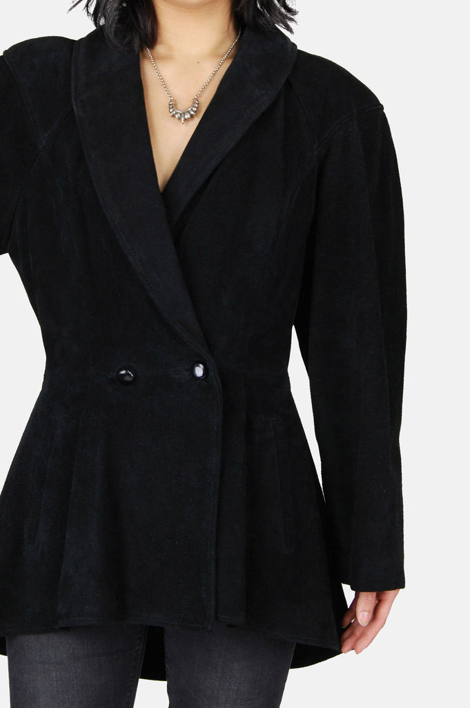 Dark Shadows Suede Leather Peplum Jacket - One More Chance - 3