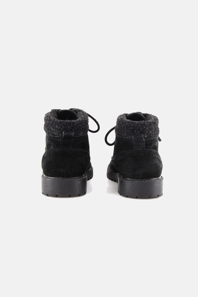 One More Chance Boutique - Vintage Shearling Cuffed Leather Hiker Boots