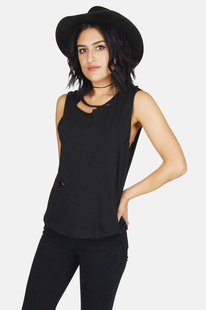 One More Chance Boutique - Vintage Black Rider Thrashed Muscle Tee