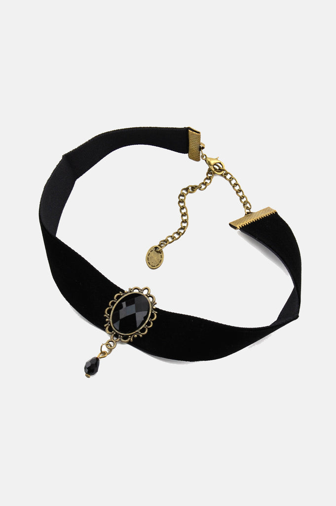 One More Chance Boutique - The Black Jewel Velvet Beaded Choker