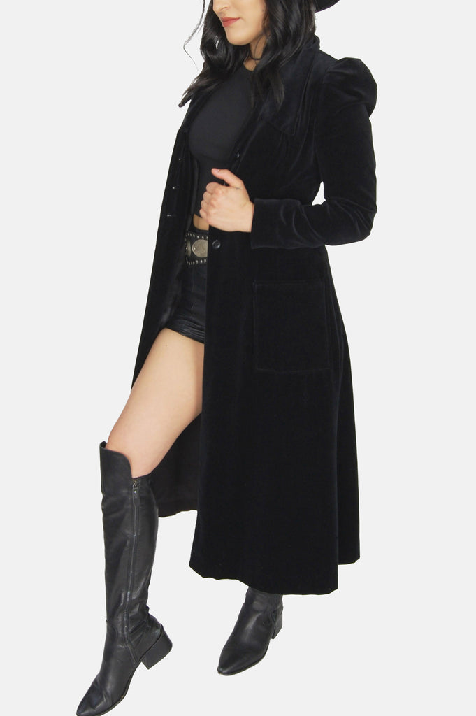 One More Chance Vintage - Vintage Black Night Velvet Maxi Coat