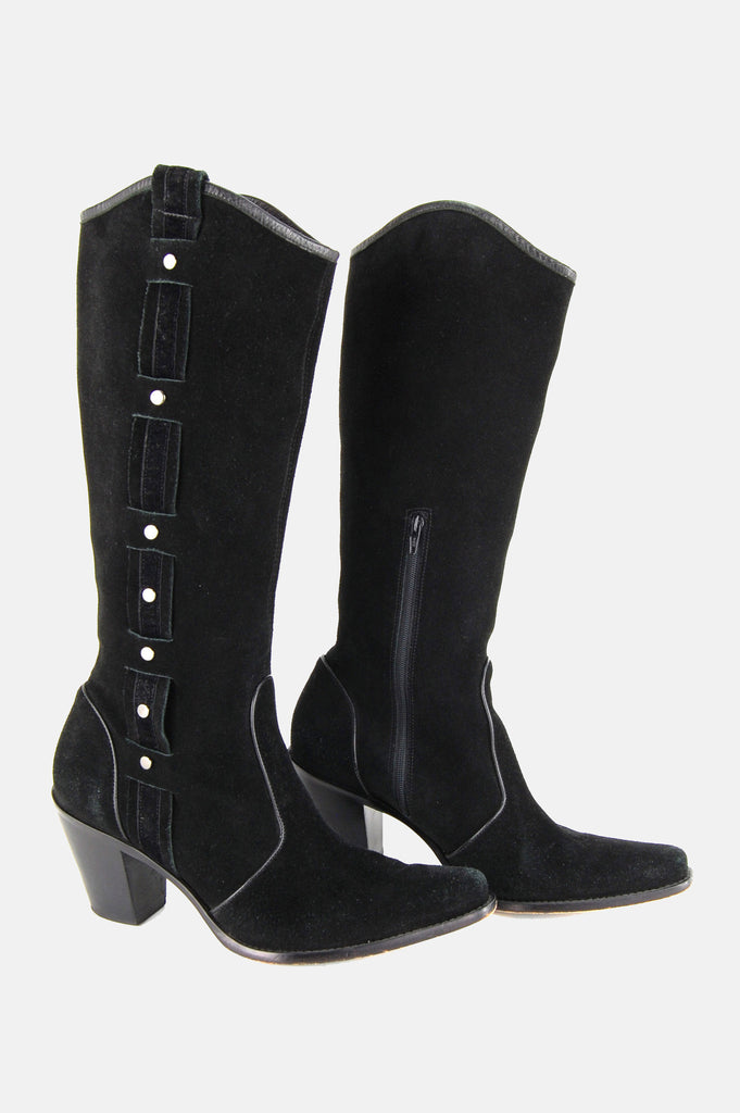 Via Spiga Studded Suede Leather Knee High Boots - One More Chance - 2