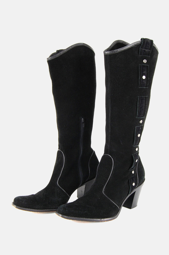 Via Spiga Studded Suede Leather Knee High Boots - One More Chance - 4