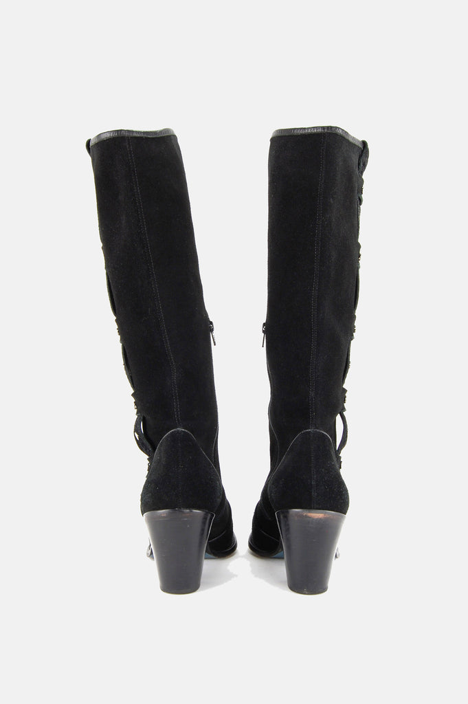 One More Chance Vintage - Vintage Via Spiga Studded Suede Leather Knee High Boots