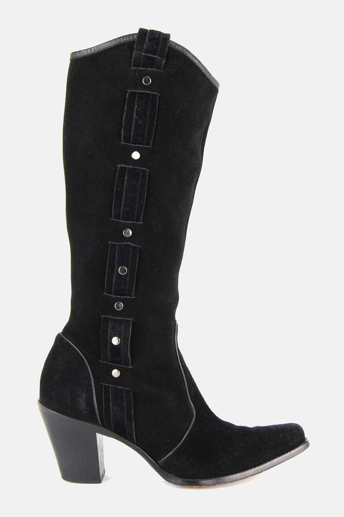 Via Spiga Studded Suede Leather Knee High Boots - One More Chance - 1