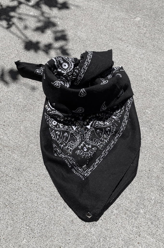 Punk Rock Lies Safety Pin & Studded Bandana Neckerchief - Black - One More Chance Vintage