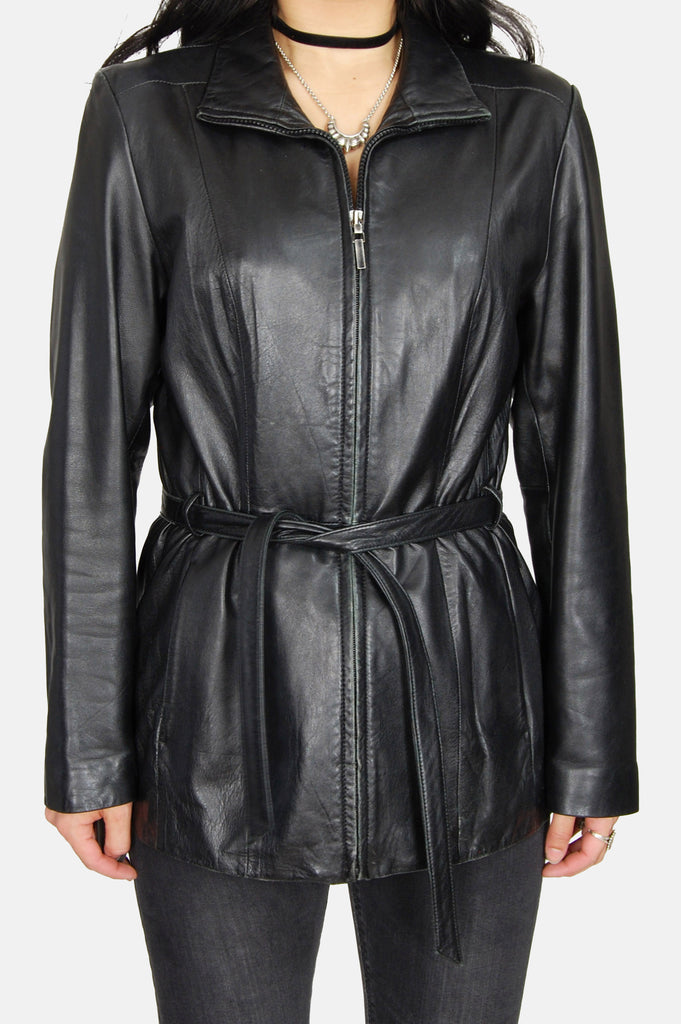 One More Chance Vintage - Vintage The Taker Belted Leather Jacket