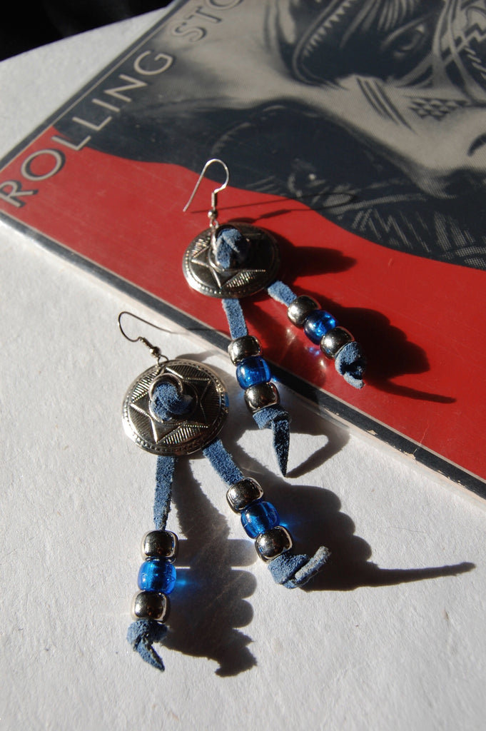 One More Chance Vintage - Vintage Fringe Beaded Leather Concho Earrings