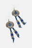 Fringe Beaded Leather Concho Earrings