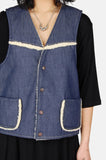 One More Chance Boutique - Vintage Waymore's Blues Denim Sherpa Vest