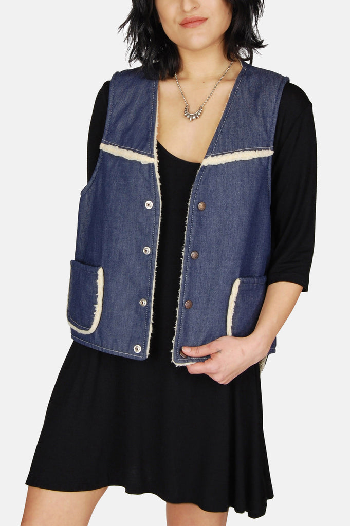 One More Chance Vintage - Vintage Waymore's Blues Denim Sherpa Vest