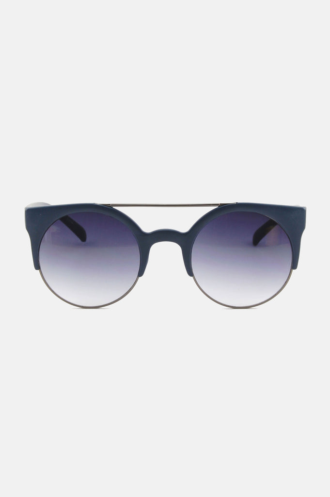 One More Chance Boutique - Freja Retro Rounded Sunglasses in Blue