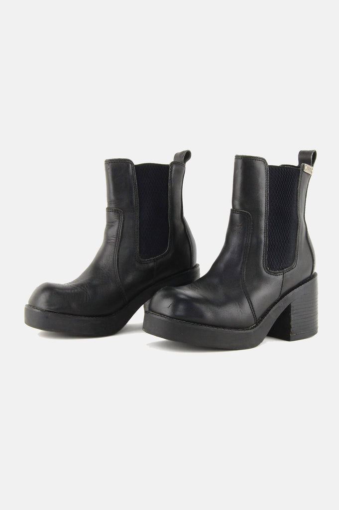 One More Chance Vintage - Vintage Midnight Mover Chunky Chelsea Leather Ankle Boots