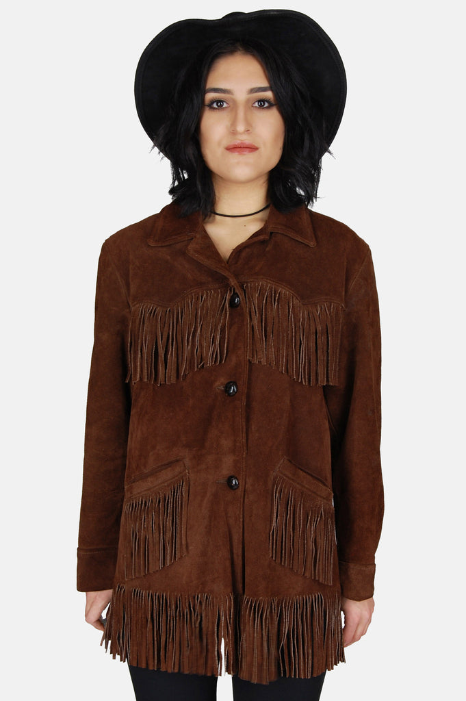 One More Chance Vintage - Vintage Blowin' In The Wind Fringe Suede Leather Jacket