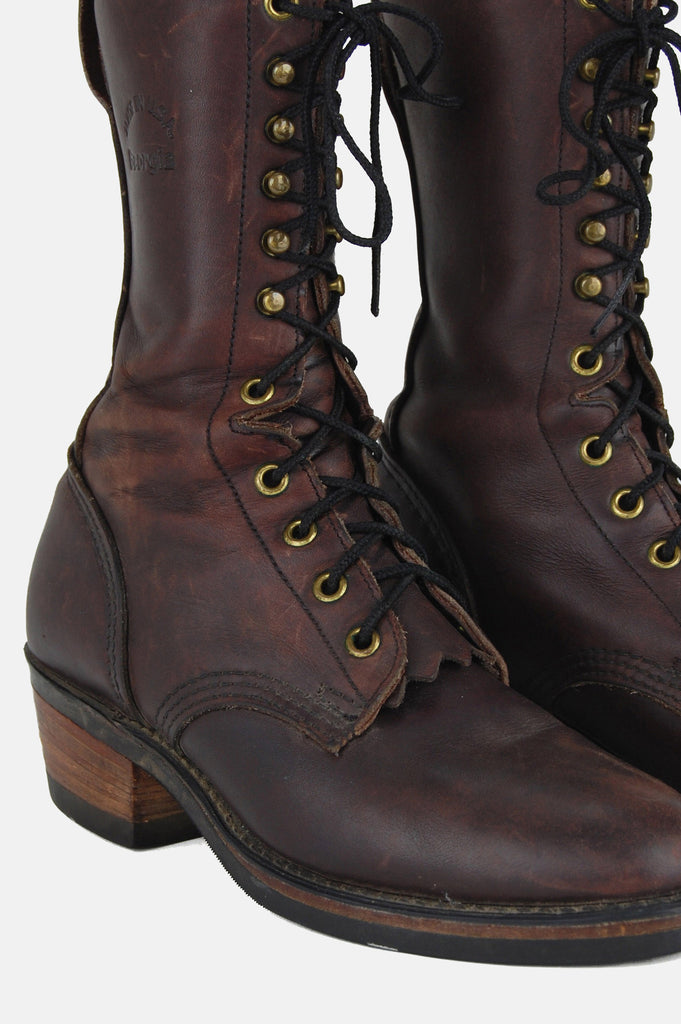 One More Chance Vintage - Vintage Georgia On My Mind Logger Leather Boots