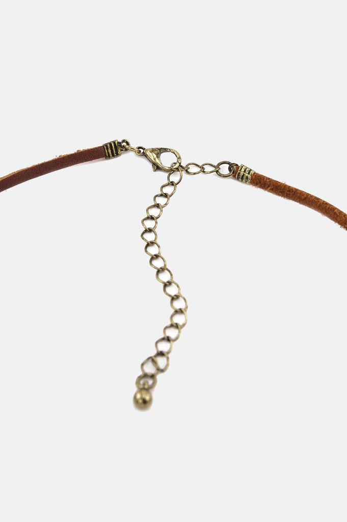 One More Chance Boutique - Double Trouble Knotted Leather Choker in Brown