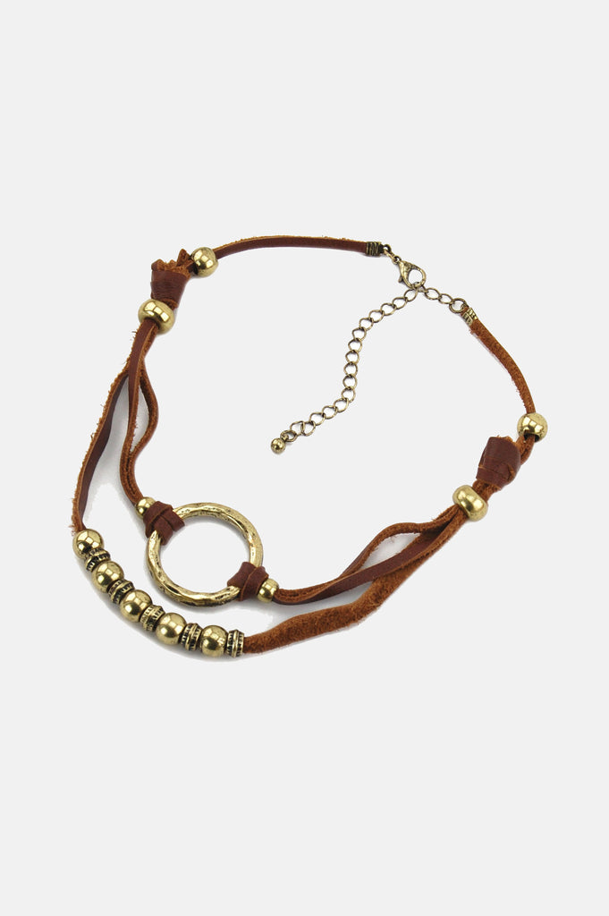 One More Chance Vintage - Double Trouble Knotted Leather Choker in Brown