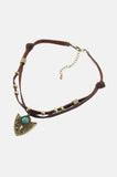 One More Chance Boutique - Arrowhead Knotted Leather Choker in Brown