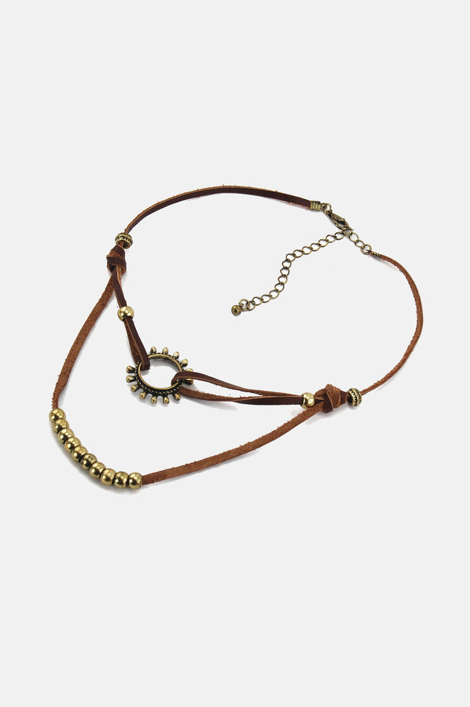One More Chance Boutique - The Rising Sun Knotted Leather Choker in Brown