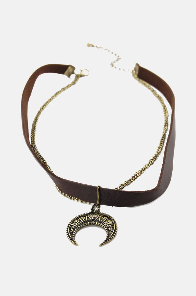 Crescent Moon Chained Leather Choker - One More Chance - 2