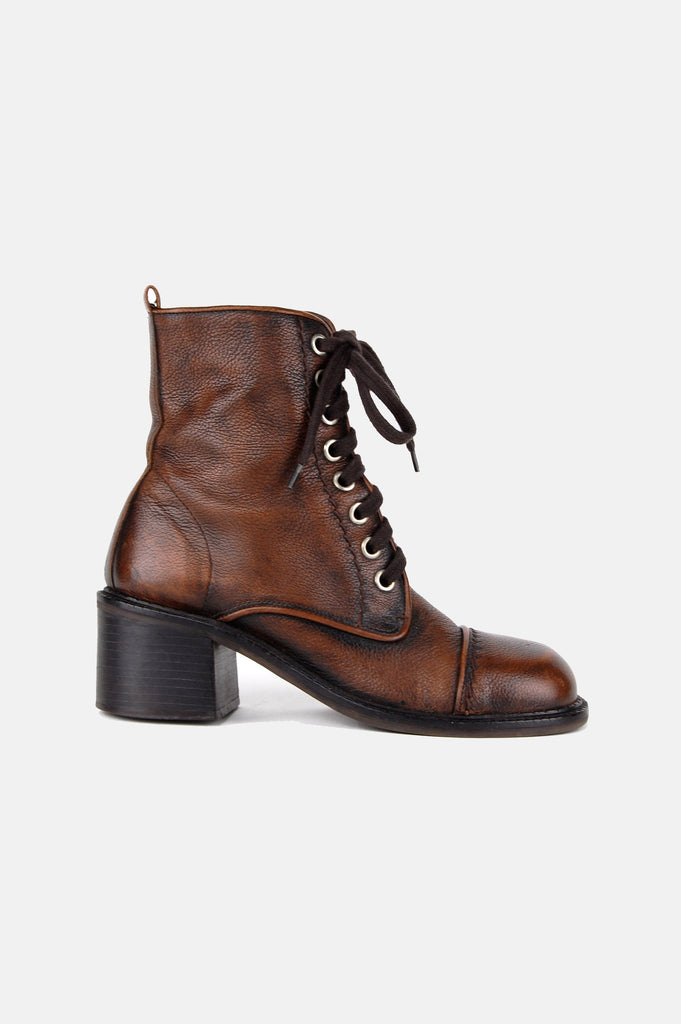One More Chance Vintage - Vintage Zodiac Lace Me Up Leather Ankle Boots