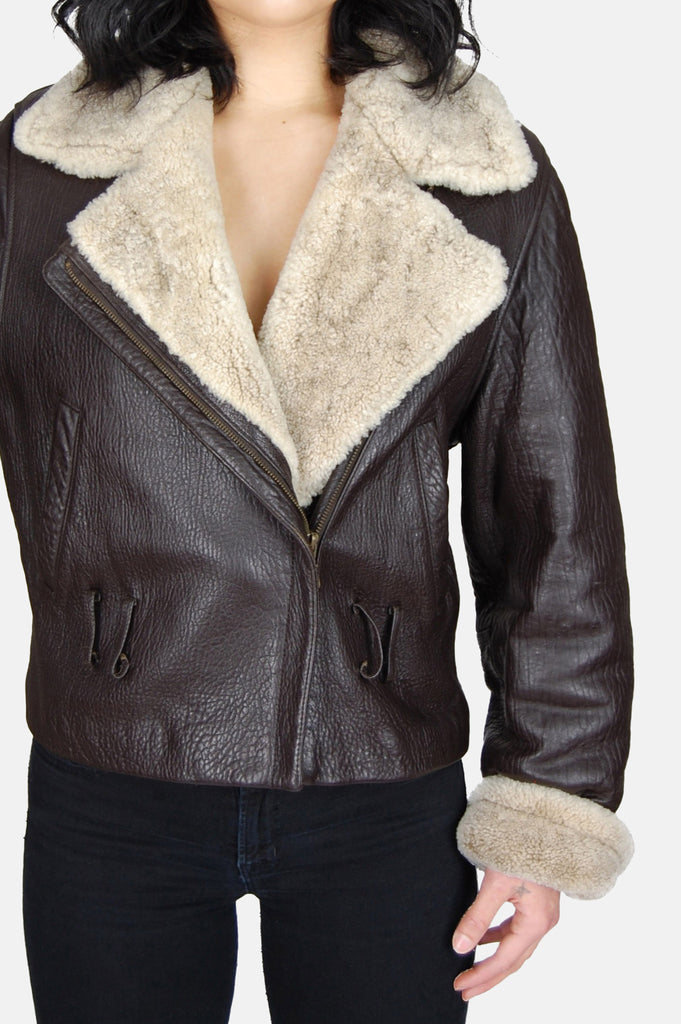 One More Chance Vintage - Vintage Siena Sherpa Textured Leather Jacket