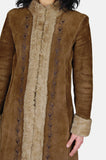 Go Your Own Way Shearling Embroidered Leather Coat - One More Chance - 3