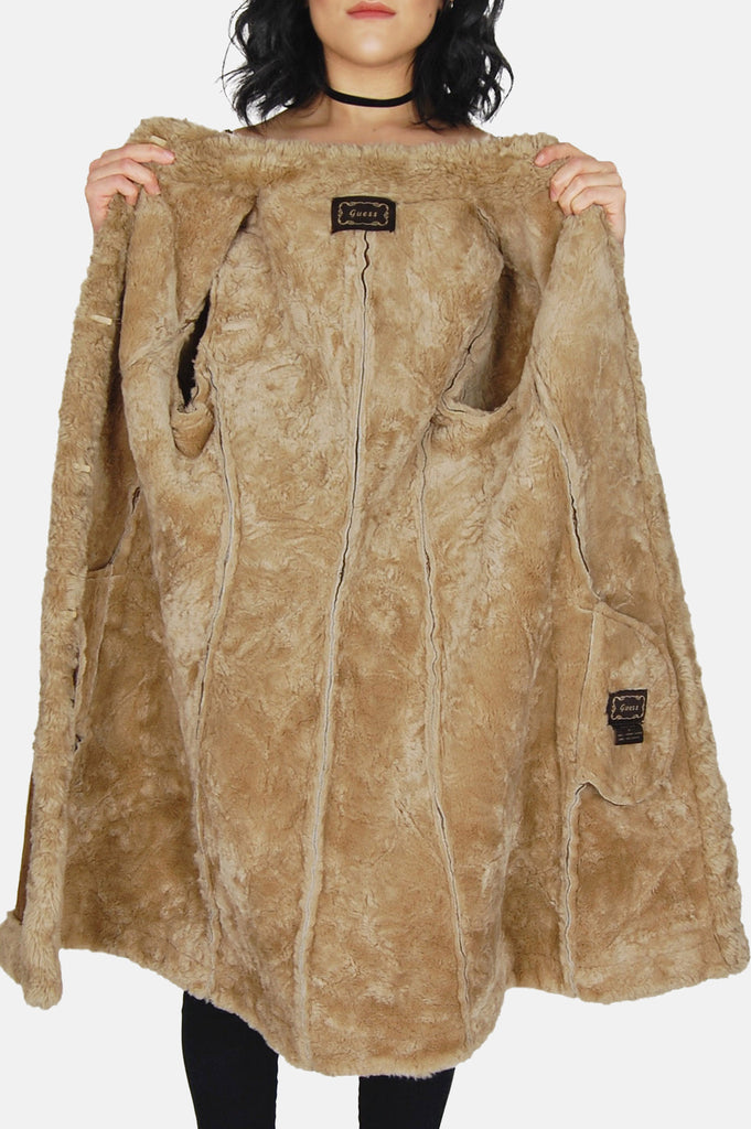 Go Your Own Way Shearling Embroidered Leather Coat - One More Chance - 6