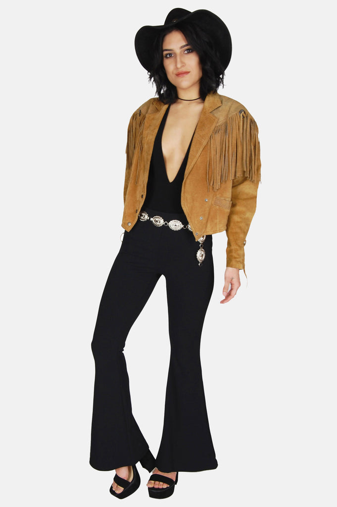 One More Chance Vintage - Vintage Wild Wind Concho Fringe Suede Leather Jacket