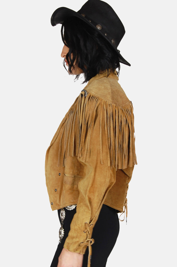 One More Chance Boutique - Vintage Wild Wind Concho Fringe Suede Leather Jacket