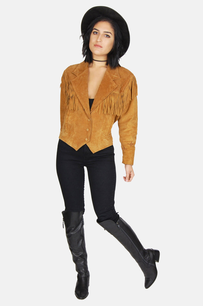 One More Chance Boutique - Vintage Be Free Fringe Suede Leather Jacket