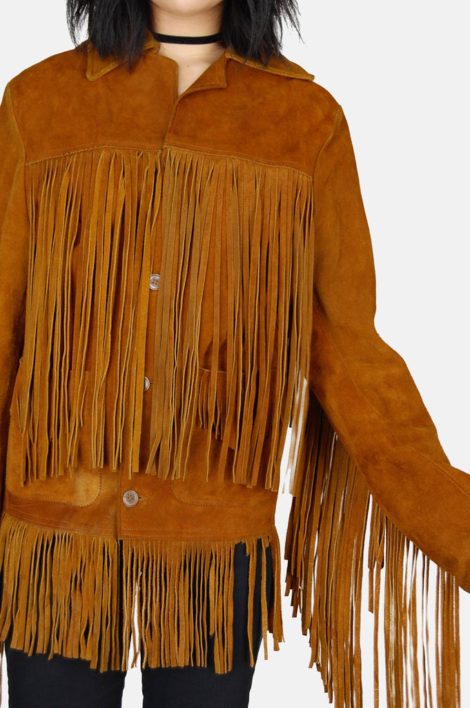 One More Chance Vintage - Vintage Fringed Out Suede Leather Jacket